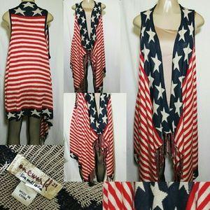One World America Cardigan Vest  Hi-Lo (2X)